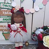 Куклы и игрушки ручной работы. Ярмарка Мастеров - ручная работа Интерьерная текстильная кукла Новогодняя Кошечка. Handmade.