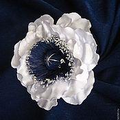 Украшения ручной работы. Ярмарка Мастеров - ручная работа Цветок-украшение из ткани Мак с темно-синей серединкой. Handmade.