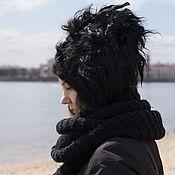 """Аксессуары handmade. Livemaster - original item Шапка валяная """"Black S"""". Handmade."""