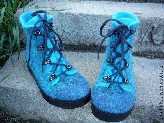 """Обувь ручной работы. Ярмарка Мастеров - ручная работа. Купить Ботинки валяные """"На гребне волны"""". Handmade. Тёмно-бирюзовый"""