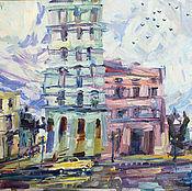 Картины и панно ручной работы. Ярмарка Мастеров - ручная работа Картина город пейзаж лето «Гавана после дождя». Handmade.