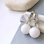 Украшения handmade. Livemaster - original item Earrings with white agate balls on the clasps casual classic. Handmade.