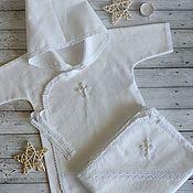 Работы для детей, handmade. Livemaster - original item Christening set made of soft flannel. Handmade.
