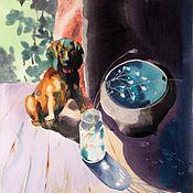 """Картины и панно ручной работы. Ярмарка Мастеров - ручная работа """"на даче"""" акварель. Handmade."""