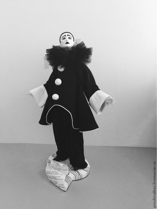 Коллекционные куклы ручной работы. Ярмарка Мастеров - ручная работа. Купить Черный Пьеро. Handmade. Чёрно-белый, акриловые краски