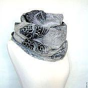 "Аксессуары handmade. Livemaster - original item Снуд валяный шарф ""Зимние бабочки"" мериносовый шарф. Handmade."