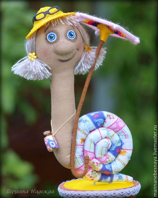 Ароматизированные куклы ручной работы. Ярмарка Мастеров - ручная работа. Купить Улиточка Дора Путешественница. Handmade. Желтый, зонтик, улыбка