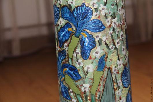 Вазы ручной работы. Ярмарка Мастеров - ручная работа. Купить Ваза Ирисы. Handmade. Зеленый, весна, цветы ручной работы