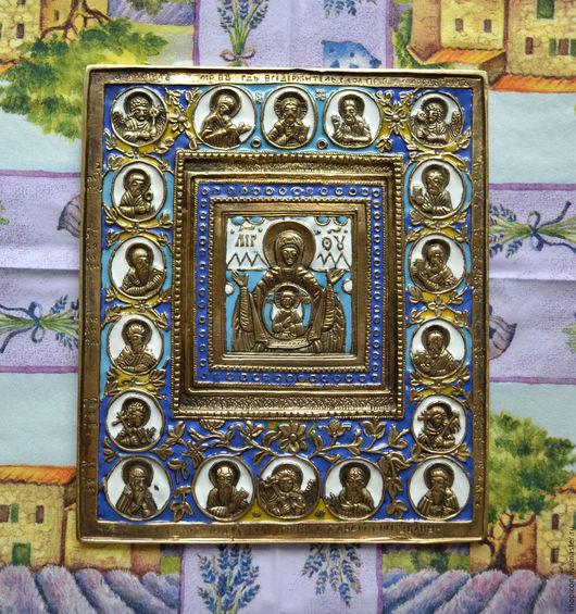 Иконы ручной работы. Ярмарка Мастеров - ручная работа. Купить Литая икона Богоматерь Знамение с медальонами. Handmade. Комбинированный, религия
