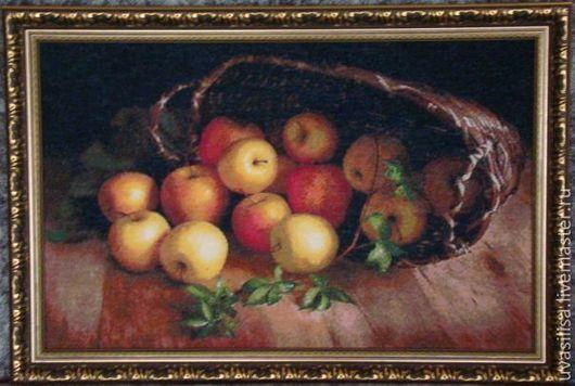"""Натюрморт ручной работы. Ярмарка Мастеров - ручная работа. Купить Вышитая картина """"Корзина яблок"""". Handmade. Яблоки, деревенский натюрморт"""