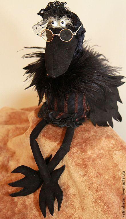 Коллекционные куклы ручной работы. Ярмарка Мастеров - ручная работа. Купить Ворона Театралка (продано). Handmade. Черный, ворона, аксессуары