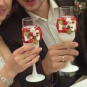 """Свадебный салон ручной работы. Ярмарка Мастеров - ручная работа Свадебные бокалы """"Яркий букет"""". Handmade."""