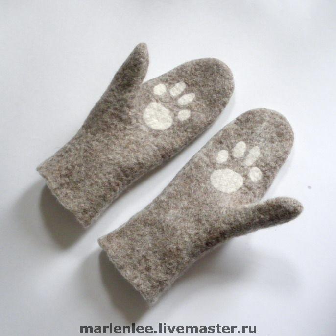 Mitten 'paw' women's felted, Mittens, Saratov,  Фото №1
