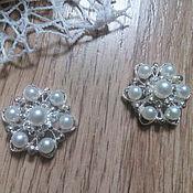 Материалы для творчества handmade. Livemaster - original item !Scrapbooking. Decor-the buckle,brooch with rhinestone, LOTUS pearls. Handmade.