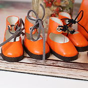 Куклы и игрушки handmade. Livemaster - original item Orange lace-up shoes. Handmade.