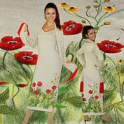"""Одежда handmade. Livemaster - original item Вязаное платье в пол, теплое, нарядное с вышивкой """"Маки"""". Handmade."""