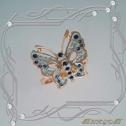 Butterfly ring gold 585, diamonds, sapphires, Rings, St. Petersburg,  Фото №1
