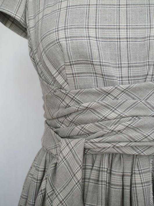 Платья ручной работы. Ярмарка Мастеров - ручная работа. Купить Платье хлопковое в клетку. Handmade. Серый, на заказ, платье с поясом