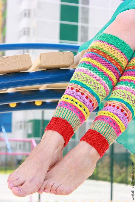 """Носки, Чулки ручной работы. Ярмарка Мастеров - ручная работа. Купить Гетры """"rainbow colour"""". Handmade. Гетры, зеленый"""