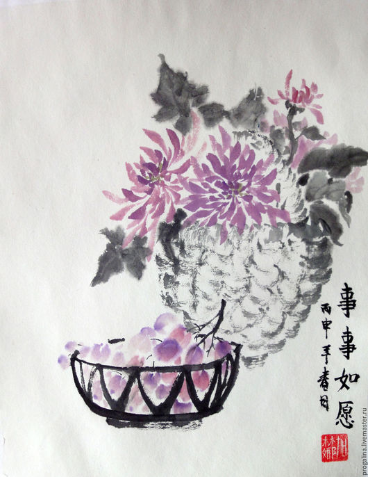 Картины цветов ручной работы. Ярмарка Мастеров - ручная работа. Купить Изобилие (китайская живопись). Handmade. Китайская живопись, корзинка