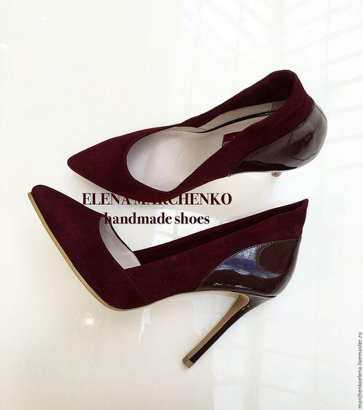 Обувь ручной работы. Ярмарка Мастеров - ручная работа. Купить Туфли. Handmade. Бордовый, туфли на каблуке, пошив обуви