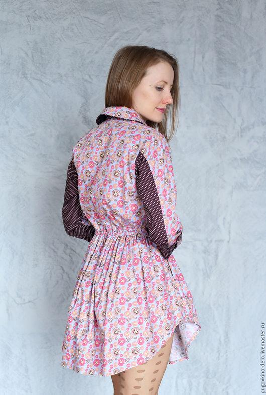 Платья ручной работы. Ярмарка Мастеров - ручная работа. Купить Платье рубашка Пуговкино дело /пуговицы на сиреневом фоне/. Handmade.