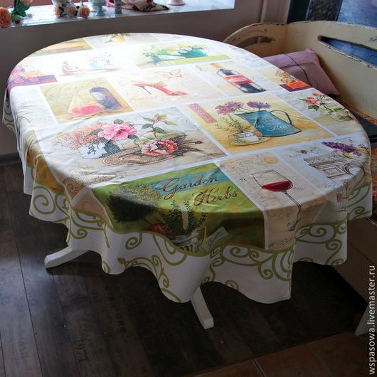 Текстиль, ковры ручной работы. Ярмарка Мастеров - ручная работа. Купить Скатерть овальной формы Прованс. Handmade. Оливковый