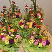 """Подарки к праздникам ручной работы. Ярмарка Мастеров - ручная работа Корзина с тюльпанами """"Весенняя"""". Handmade."""