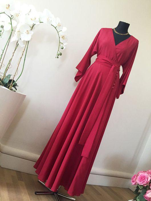 Платья ручной работы. Ярмарка Мастеров - ручная работа. Купить Платье с запахом. Handmade. Платье в пол, красное платье