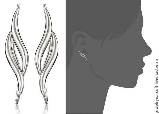 Ювелирные серьги пины из серебра 925 пробы или Ear Pin от Stepan Vasiliev Jewelry.  Ярмарка мастеров-ручная работа. Купить серьги пины серебро 925. Серьги пины подгибаются на любое ушко.