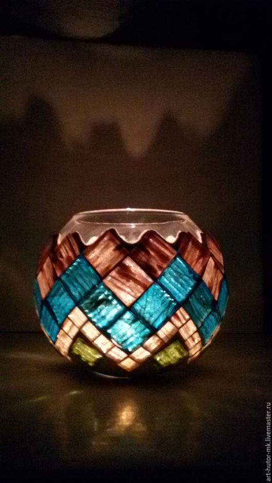 """Подсвечники ручной работы. Ярмарка Мастеров - ручная работа. Купить Подсвечник с мозаикой """"Волна"""". Handmade. Подсвечник с мозаикой, мозаичная ваза"""