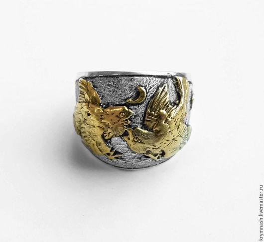 """Кольца ручной работы. Ярмарка Мастеров - ручная работа. Купить Кольцо """"Воробьи"""" серебро 925, чернение, позолота. Handmade. Серебряный"""