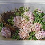 Картины и панно ручной работы. Ярмарка Мастеров - ручная работа Картина вышитая лентами.Зефирные розы.. Handmade.
