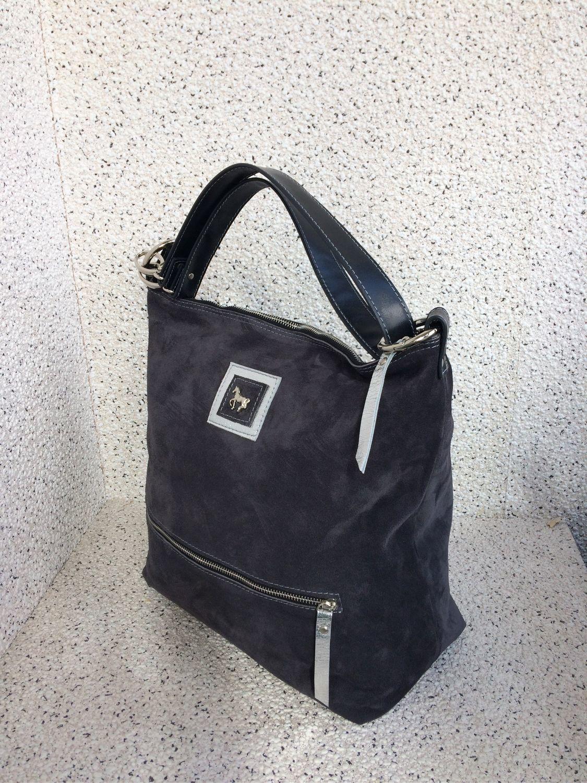 Хобо сумка, натуральная замша, кожа, серый, тёмно серый, серебристый, Сумка-мешок, Москва,  Фото №1