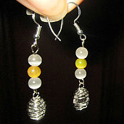 Украшения handmade. Livemaster - original item Earrings silver plated with cat`s eye, rock crystal. Handmade.