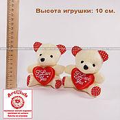 Брелок – мягкая игрушка для букетов мишка, 10см, бежевый, с сердечком