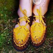 """Обувь ручной работы. Ярмарка Мастеров - ручная работа Кожаные сандалии """"Brown & Yellow"""". Handmade."""