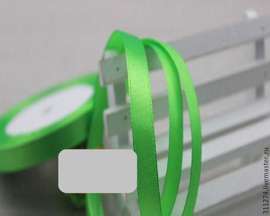 Упаковка ручной работы. Ярмарка Мастеров - ручная работа. Купить Лента  атласная  ширина 1 см.. Handmade. Ярко-зелёный