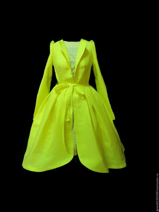 """Платья ручной работы. Ярмарка Мастеров - ручная работа. Купить Пальто-рубашка """"Солнечный фламинго"""". Handmade. Желтый, сочные цвета"""