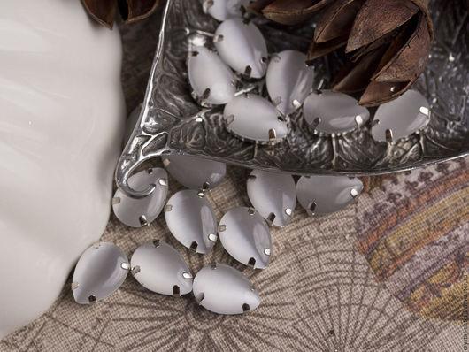 Для украшений ручной работы. Ярмарка Мастеров - ручная работа. Купить Стразы шёлковые капля 14х10мм Белый шелк. Handmade.