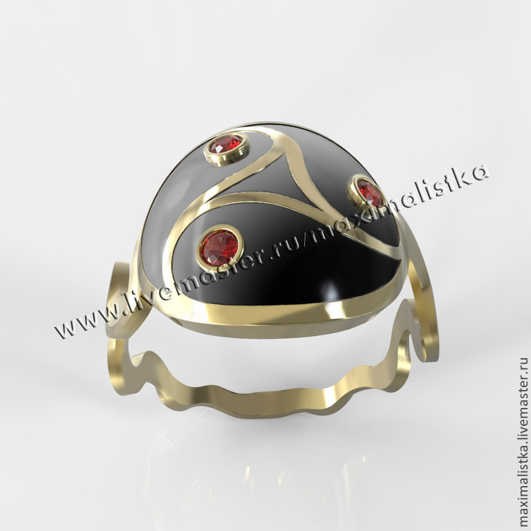 Ring 'Triskel '' gold, red sapphires, enamel, Rings, Moscow,  Фото №1