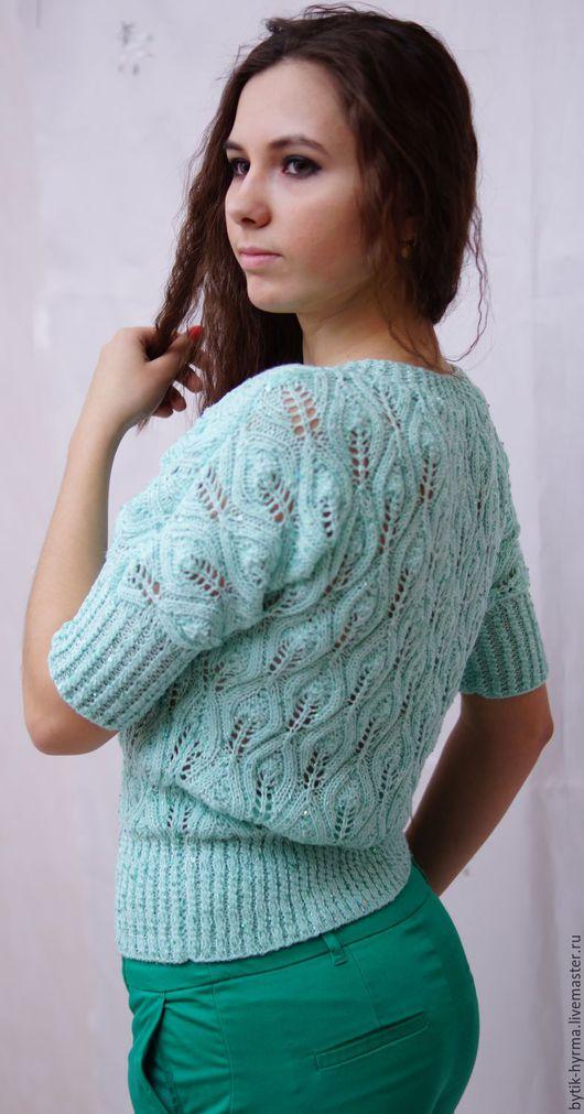 Кофта спицами вязаная листья, пятная кофта спицами, вязаная спицами кофточка, кофта женская спицами, свитер спицами вязаный, ажурный пуловер спицами, кофточка с пайетками мятного цвета, кофта спицами