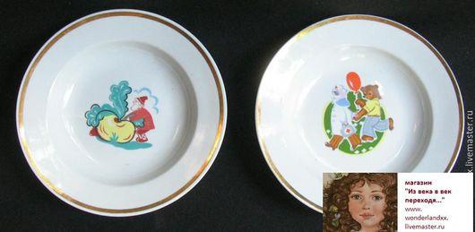 Винтажная посуда. Ярмарка Мастеров - ручная работа. Купить Тарелки детские, Дулево. Handmade. Комбинированный, дулево