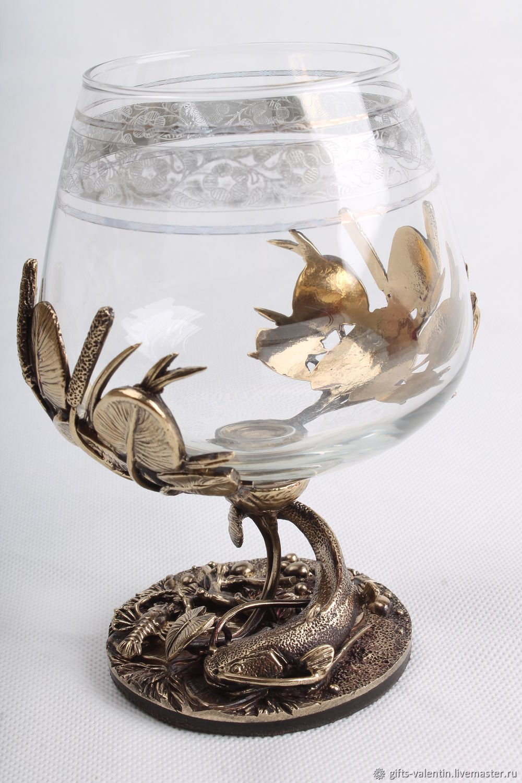 A glass of brandy 'a good catch' Catfish, Wine Glasses, Vacha,  Фото №1