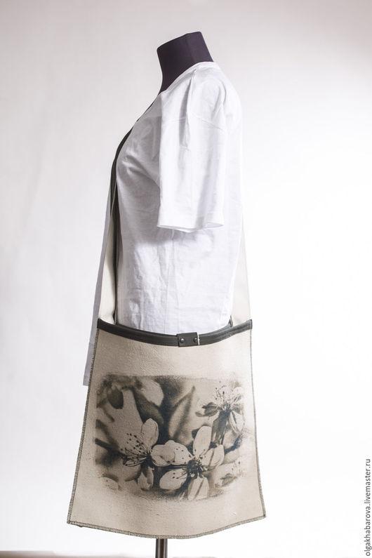 Сумки и аксессуары ручной работы. Ярмарка Мастеров - ручная работа. Купить сумка минималистичная большая с принтом. Handmade. Серый