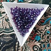 Материалы для творчества handmade. Livemaster - original item Glass beads 4 mm purple AB coating translucent. Handmade.