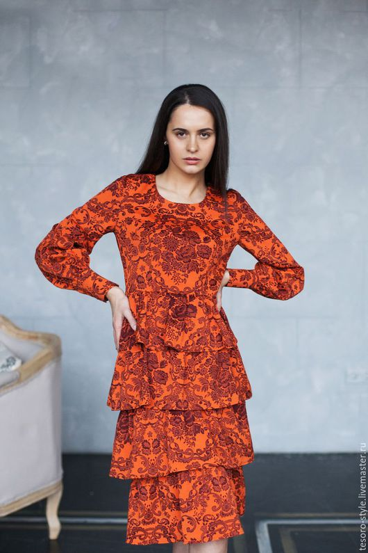 Платья ручной работы. Ярмарка Мастеров - ручная работа. Купить Мисс Элегантность (платье). Handmade. Рыжий, модное платье