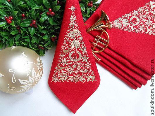 Новогодняя Салфетка с Вышивкой `Кружевная ель` `Шпулькин дом` мастерская вышивки