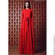 Платье, Платье  нарядное, Платье длинное, Платье дизайнерское, Платье красного цвета, Платье с рукавами, Платье с длинными рукавами, Платье с поясом, Платье со сборкой на поясе, Красное платье, Платье