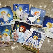 Открытки handmade. Livemaster - original item Set of postcards Angels. New year, Christmas and All occasions. Handmade.
